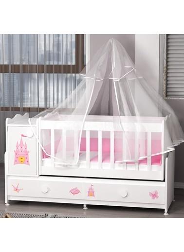 Garaj Home Garaj Home Pırlanta Yıldız 4Lü Prenses Bebek Odası Takımı - Yatak Ve Uyku Seti Kombinli/ Uyku Seti Beyaz Beyaz